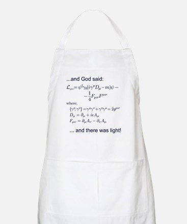 God said, let there be light (QED) Apron
