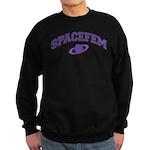 Spacefem (violet text) Sweatshirt (dark)