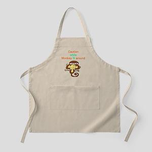 """""""Caution while Monkey N Aroun BBQ Apron"""