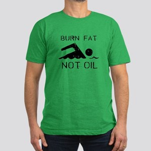 Burn fat not oil Men's Fitted T-Shirt (dark)
