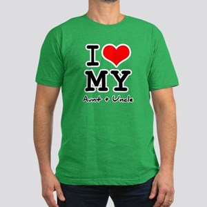I love my aunt + uncle Men's Fitted T-Shirt (dark)