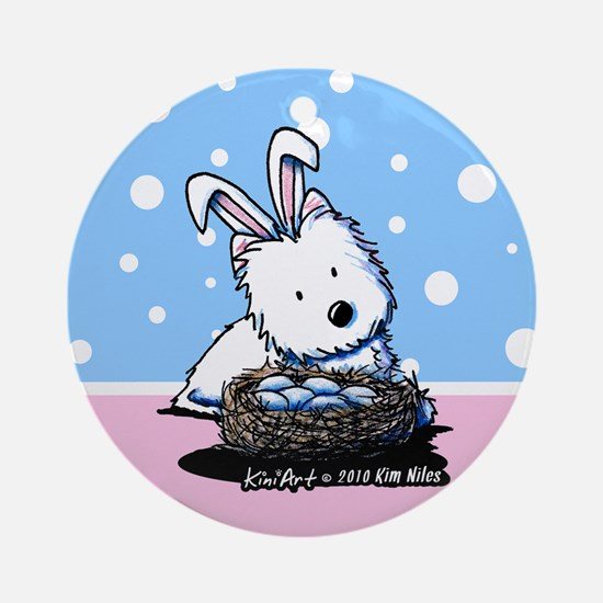 Easter Rabbit Westie Ornament (Round)