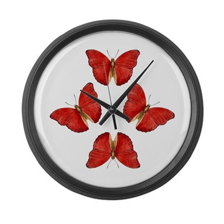 Red Butterfly Large Wall Clock