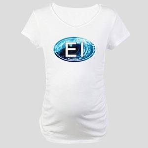 EI Emerald Isle, NC Beach Oval Maternity T-Shirt