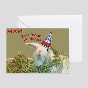 Bunny in Hay Birthday Greeting Card