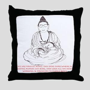 BUDDHA'S CAT WISDOM Throw Pillow