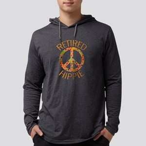 Retired Hippie Peace Sign Mens Hooded Shirt