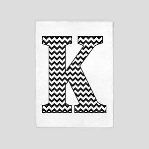 Black and White Chevron Letter K Monogram 5'x7'Are