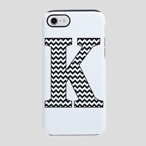 Black and White Chevron Letter K Monogram iPhone 7