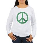 Green Peace Sign Women's Long Sleeve T-Shirt