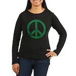 Women's Green Peace Sign Long Sleeve Black T-Shirt