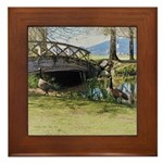 Canada Geese in the Park Framed Tile