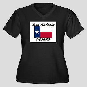 San Antonio Texas Women's Plus Size V-Neck Dark T-