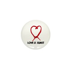 LOVE IS SWEET (LICORICE HEART) Mini Button (10 pac