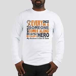 HERO Comes Along 1 Husband LEUKEMIA Long Sleeve T-