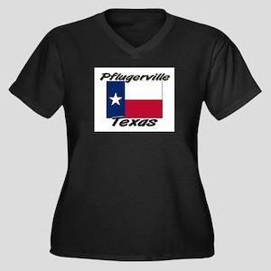 Pflugerville Texas Women's Plus Size V-Neck Dark T