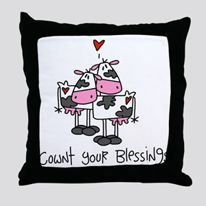 Cownt Your Blessings Throw Pillow