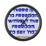 No Freedom Large Wall Clock