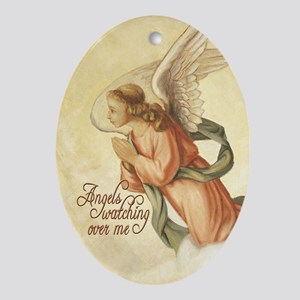 Angels Watching Oval Ornament