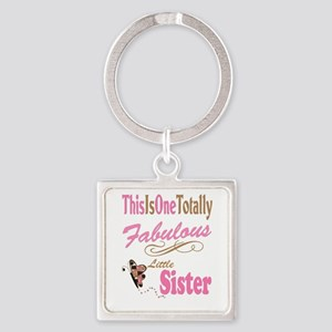 Fabulous Little Sister Square Keychain