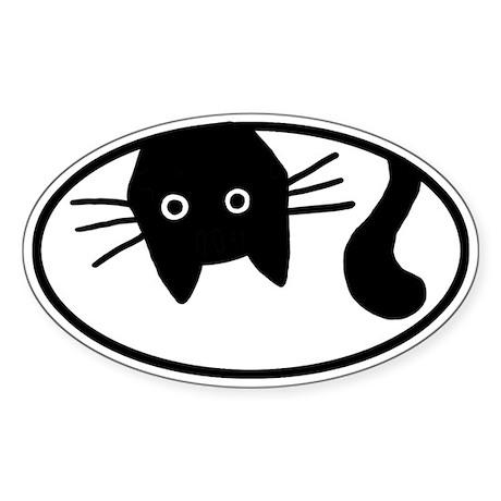 Upside-Down Cat Oval Sticker