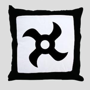 shuriken black icon Throw Pillow