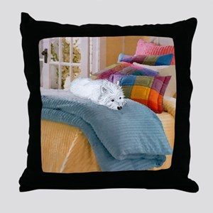 Westie Napping Throw Pillow