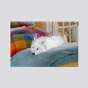 Westie Napping Rectangle Magnet