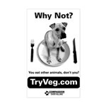 Dog on a Plate Rectangle Sticker