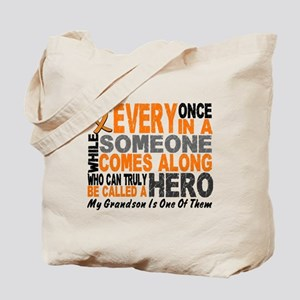 HERO Comes Along 1 Grandson LEUKEMIA Tote Bag