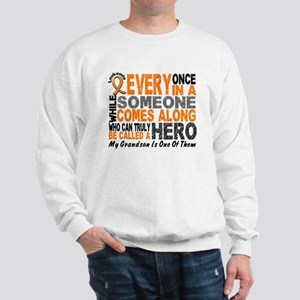 HERO Comes Along 1 Grandson LEUKEMIA Sweatshirt