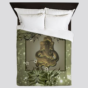 Indian elephant with flowers Queen Duvet