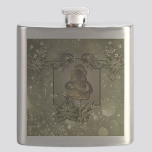 Indian elephant with flowers Flask
