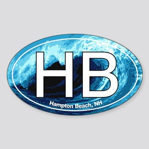 HB Hampton Beach, NH Wave Oval Oval Sticker