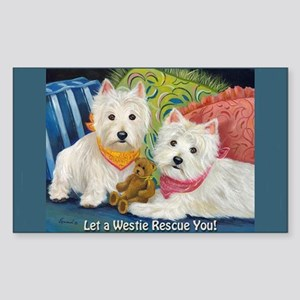 WESTIE LET A WESTIE RESCUE YOU! Sticker (Rectangle