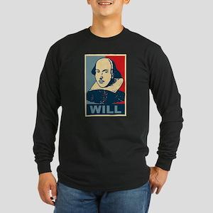 Pop Art William Shakespeare Long Sleeve Dark T-Shi