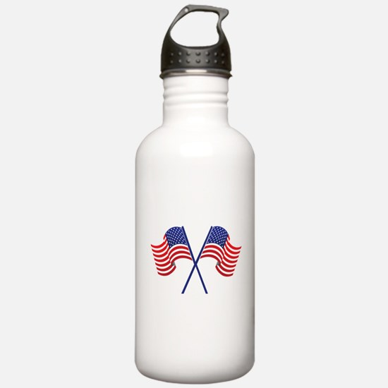 USA Racing Flags Water Bottle