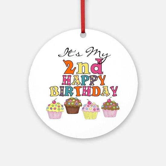 Cupcakes 2nd Birthday Ornament (Round)
