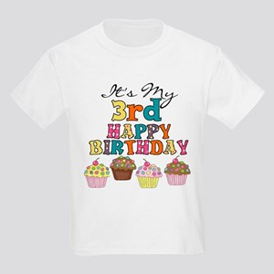 Cupcakes 3rd Birthday Kids Light T-Shirt