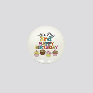 Cupcakes 3rd Birthday Mini Button