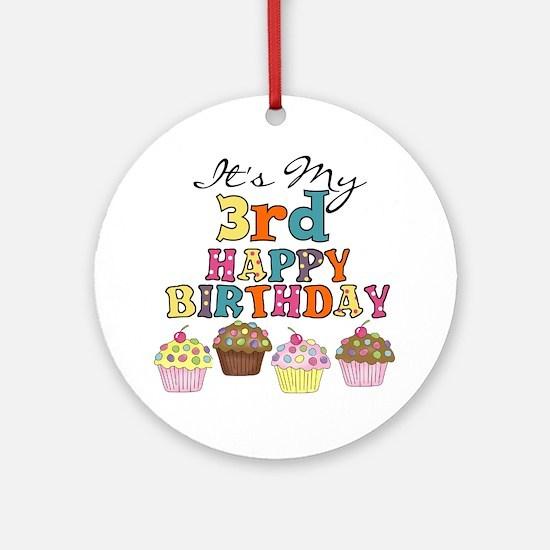 Cupcakes 3rd Birthday Ornament (Round)