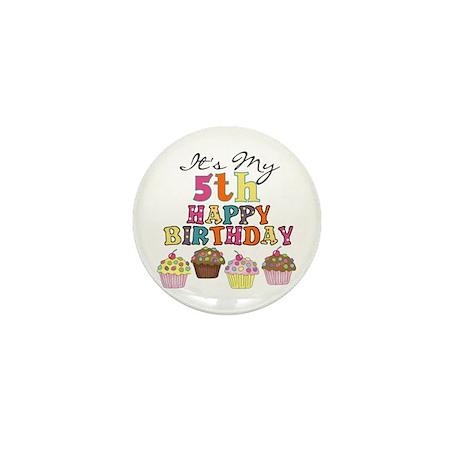 Cupcakes 5th Birthday Mini Button