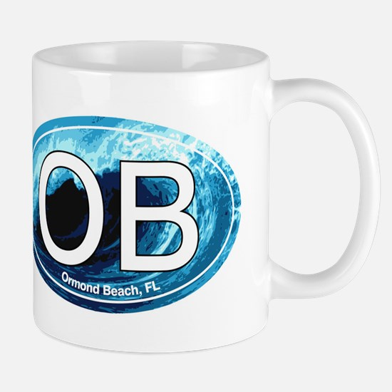 OB Ormond Beach Wave Oval Mug