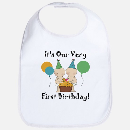 Twin Babies 1st Birthday Bib