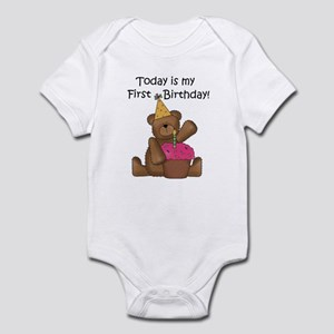 Bear and Cupcake 1st Birthday Infant Bodysuit