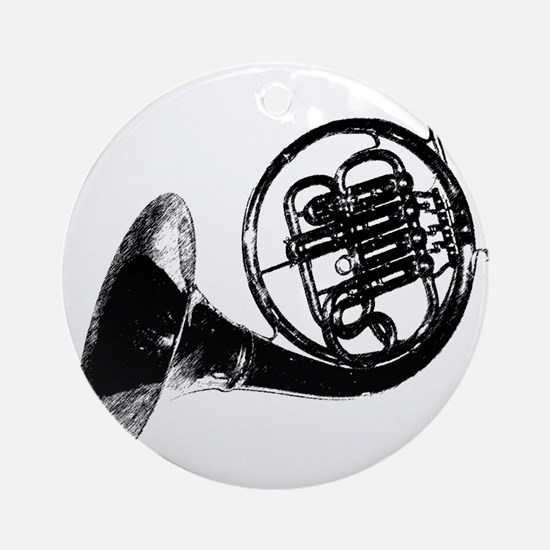 Black French Horn Ornament (Round)