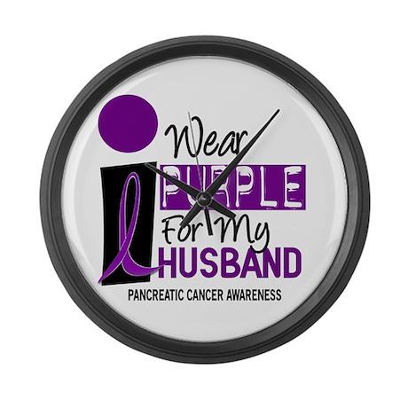 I Wear Purple For My Husband 9 PC Large Wall Clock