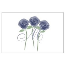 Pretty Blue Roses Monogram Posters
