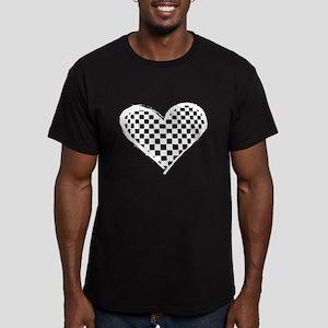 Checkered Heart Men's Fitted T-Shirt (dark)