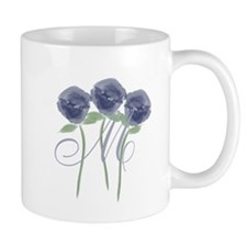 Pretty Blue Roses Monogram Mugs